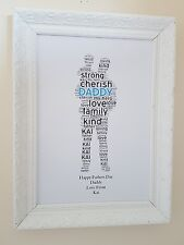 CHRISTMAS GIFTS PERSONALISED A4 DADDY GRANDAD Boys Men ANY SHAPE ANY WORDING