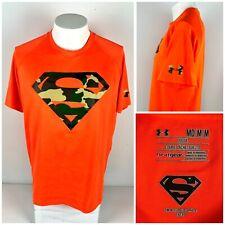 Under Armour Mens Medium Shirt Superman Alter Ego Camouflage Polyester Neon