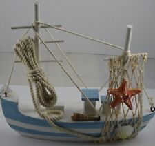 Fashionably Attractive Blue Mist Quality Wooden Boat - Nautical Decor.