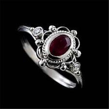 925 Silver Men Women 1.2CT Rubellite Tourmaline Ring Vintage Wedding Size 6-10
