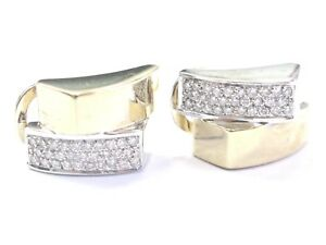 Round Cut Diamond Pave Huggie Earrings Two-Tone Gold .58Ct 14Kt