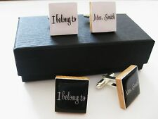 Personalised wedding cufflinks handmade in white or black gift boxed any name
