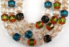 25 Mix Olive Crystal Aqua Black Cathedral Fire Polished Faceted Glass Beads 8mm