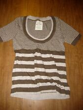 HOLLISTER tan striped surf scoop-neck shirt juniors small So Cal California HCO