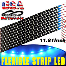 10x 15 LED 30cm Ice Blue Car Motorcycle Flexible Strip Lights Waterproof 12V US