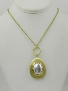 Lucky Brand Two-Tone Champagne Imitation Mother-of-Pearl Pendant Necklace, 30""