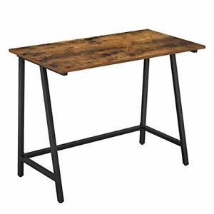 Computer Desk, Writing Desk with Steel Frame, Rustic Top, Work Table, Brown