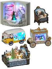 Light Up Christmas White Snow Village Scene Camper Van Carriage LED Decoration