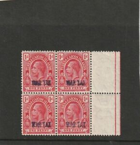 Turks and Caicos 1d red WAR TAX Block of 4 . Mounted Mint