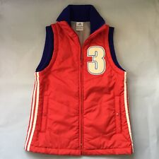 Adidas 3line Outer Jacket Size S Boys Girls Red Autumn Winter Sports Sleeveless