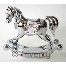 CRYSTOCRAFT CHROME PLATED BABY GIRL ROCKING HORSE GIFT SWAROVSKI PINK CRYSTALS