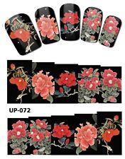 Envoltura de Completo Arte en Uñas Pegatinas Calcomanías Traslados Flores Rojas (UP-072)