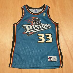 100% Authentic Grant Hill Vintage Champion 96 97 Pistons Jersey Size 44 M L Mens