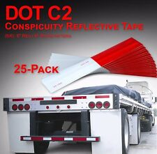 """Dot-C2 Reflective Conspicuity Tape Safety Trailer Truck 6""""Red/6""""White - 25-Pack"""