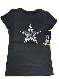 Dallas Cowboys NFL Girls Navy Blue Logo Short Sleeve Tee Shirt Medium (8-10) NWT