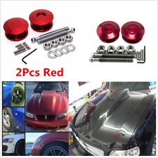 2x Universal Push Button Billet Hood Pins Lock Clip Kit Car Quick Release Bonnet