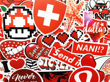 50 Red Sticker Bomb Scrapbooking Laptop Phone Skin Lot Set Decoration Decals