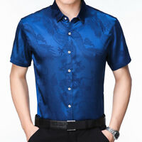 Men Silk Satin Dragon Dress Shirt Business Party Short Sleeve Casual Top Fashion