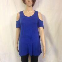 Acting Pro Women's Cold Shoulderr Pullover Short Sleeve Royal Blue Top Size Medi