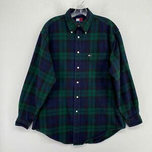 Vintage Tommy Hilfiger Flannel Shirt Mens Medium Green Blue Plaid Long Sleeve