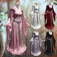 Renaissance Gothic Dress Cosplay Women Celtic Velvet Medieval Hooded Halloween