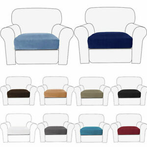 Velvet Sofa Seat Cushion Cover Solid Color Couch Slip Covers Stretchy Protector