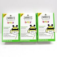 3 pack Lot Zarbee's Naturals Baby Vitamin D Supplement Drops 0.47oz 12/2019