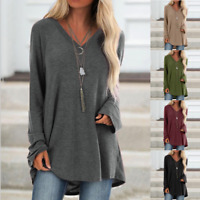Womens Baggy Long Sleeve V-neck Tops Blouse Casual Loose Plain Tunic T-shirt Top