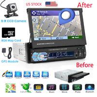 "7.0"" GPS Navigation Single 1DIN Car Stereo MP5 Player Bluetooth FM USB SD+Camera"