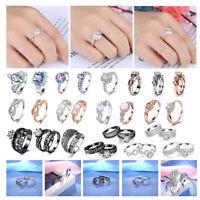 925 Silver Wedding Engagement Rings Zircon Princess Colorful Crystal Anillo 6-9