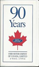 Ford Motor Company Of Canada 1904-1994 90 Years Vhs Tape With Paper From Ford