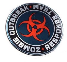 "Zombie Outbreak Round domed car decal emblem 3D chrome sticker  2.44"""
