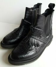 Dr Martens Black Leather Mock Snakeskin Brogues Chelsea Boots UK 6.5, EU 40