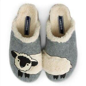 Lands End Women's Sheep Felt Scuff Slippers - Grey