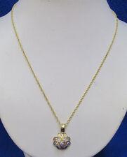Borealis Crystal Rhinestones Gold Tone Necklace w/ Pendant Flower Shaped Aurora