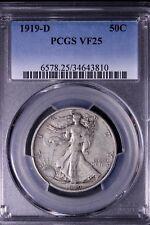 1919-D Walking Liberty Half Dollar (PCGS VF25). Excellent Buy