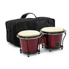 """More details for world rhythm 6"""" & 7"""" beginners oak bongo drums - wine red bongos with padded bag"""