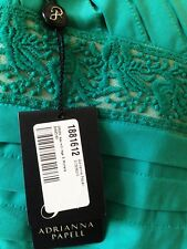 AMAZING TEAL GREEN TIERED LACE OVERLAY SHEATH DRESS NEW Sz 8 Adrianna Papell