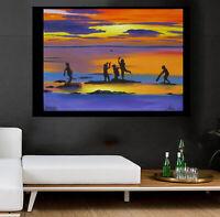 Painting Sunset Cricket world cup Art Silhouette Beach canvas ocean seascape