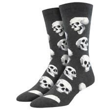 Socksmith Men's Crew Socks Sacred Skulls Charcoal Grey Novelty Footwear