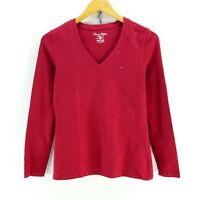Tommy Hilfiger Women's T-Shirt in Red Size S Long Sleeve Cotton Tee EF5104