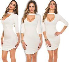 KOUCLA mini vestido entallado Banda Cuello Cremallera Lápiz honor camisa blanco