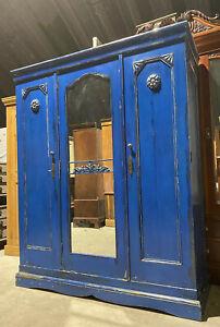 Vintage  Painted Gustavian  Style Rustic Knockdown Solid Pine Wardrobe Armoire