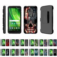 For Motorola Moto G6 Play / G6 Forge / E5 Rugged Hybrid Holster Belt Clip Case
