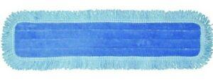 Blue Microfiber Fringed Dust Mop Head w/Canvas Backing AMM48HDBD 48x5 12ct Case