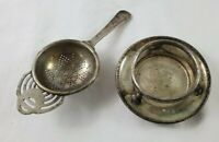 VINTAGE L.W.LD. EPNS Silver Plated Tea Strainer Made in England 2pc Set