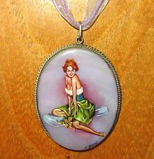 Russian hand painted Shell & German Silver Beautiful Girl PIN - UP Model pendant