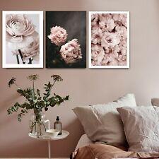 3 Piece Canvas Prints Set - Romantic Pink Roses Floral Art Home Decor - Unframed