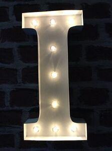 LED LIGHT CARNIVAL WHITE WEDDING CELEBRATION LETTER I - ALL METAL LARGE 33 CM