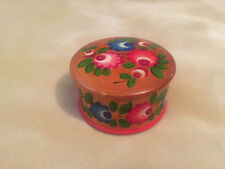 Eastern European Wooden Circular Trinket Box Floral Decoration Lacquered
